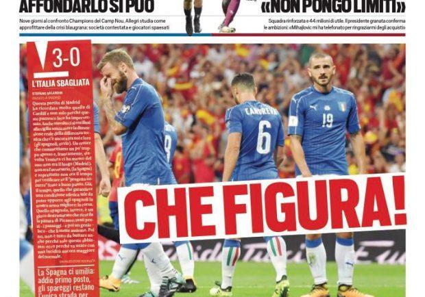 """FOTO – La prima pagina di Tuttosport per l'Italia: """"Che figura!"""""""