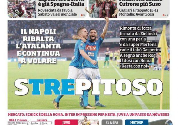 """Corriere dello Sport, prima pagina dedicata al Napoli – """"Strepitoso"""""""
