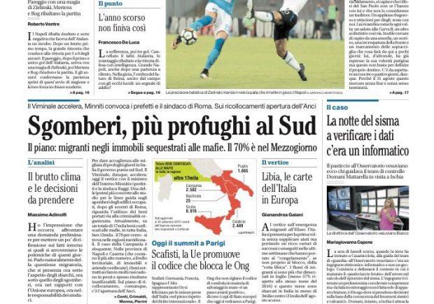 """IL MATTINO, la prima pagina – """"Il Napoli scaccia l'incubo Atalanta"""""""