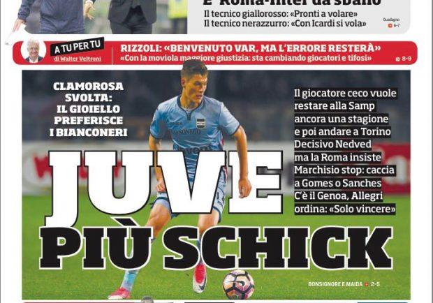 """FOTO – Corriere dello Sport, """"Juve più Schick"""", il talento ceco vuole vestire la maglia bianconera"""