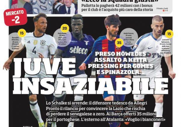 """FOTO – CdS: """"Napoli, Suarez è il colpo Champions"""""""