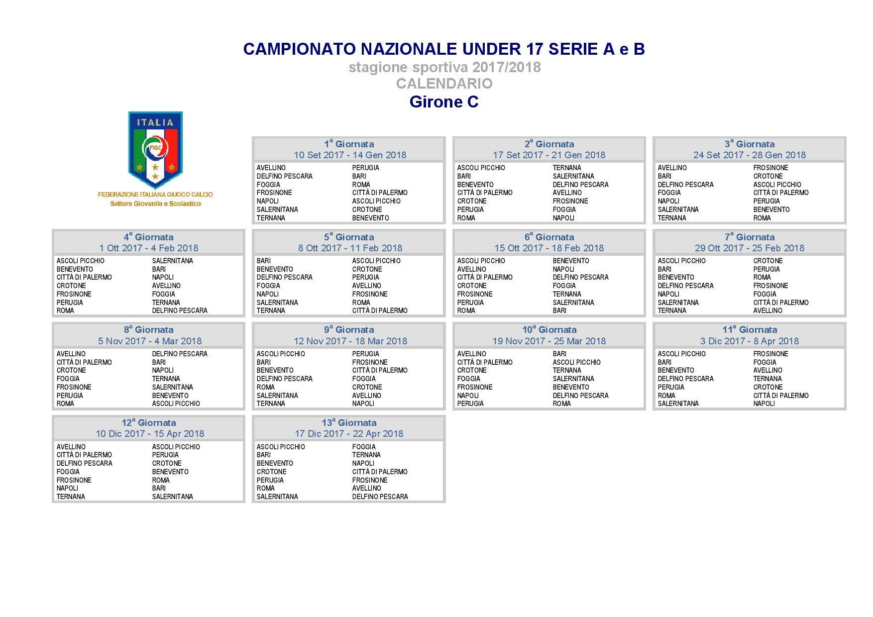 Bari Calcio Calendario.Under 17 A E B Ecco Il Calendario Gli Azzurrini Debuttano