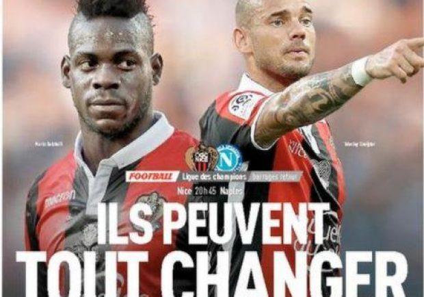 """FOTO – È il giorno di Nizza-Napoli, l'Equipe in prima pagina: """"Balo-Sneijder possono cambiare tutto"""""""