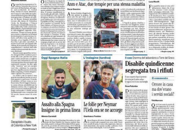 """Foto – Il Mattino titola: """"Assalto alla Spagna: Insigne in prima linea"""""""