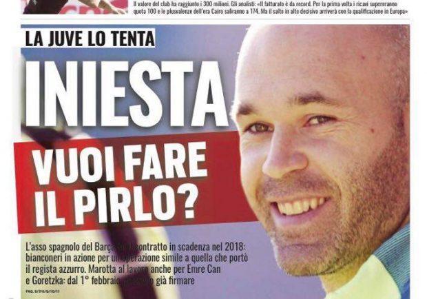 "Foto – Tuttosport in prima pagina: ""La Juve tenta Iniesta"""