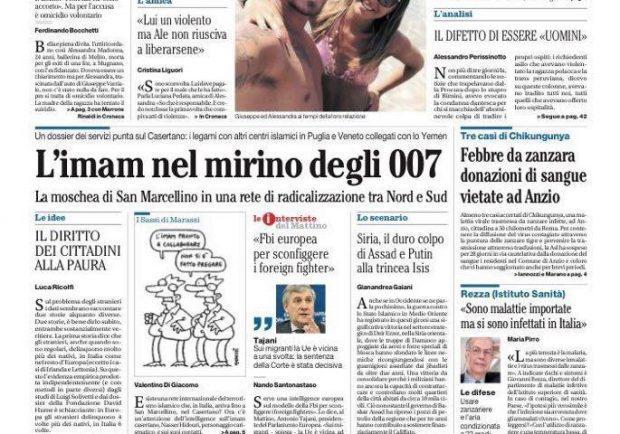 """Foto – Il Mattino in prima pagina: """"Reina, Yolanda, Napoli e l'amore ritrovato"""""""