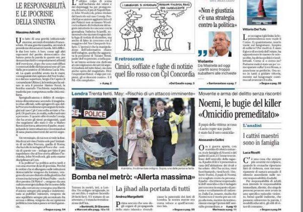 """Foto – Prima pagina del Mattino: """"Derby con Jorginho e senza Ciciretti"""""""