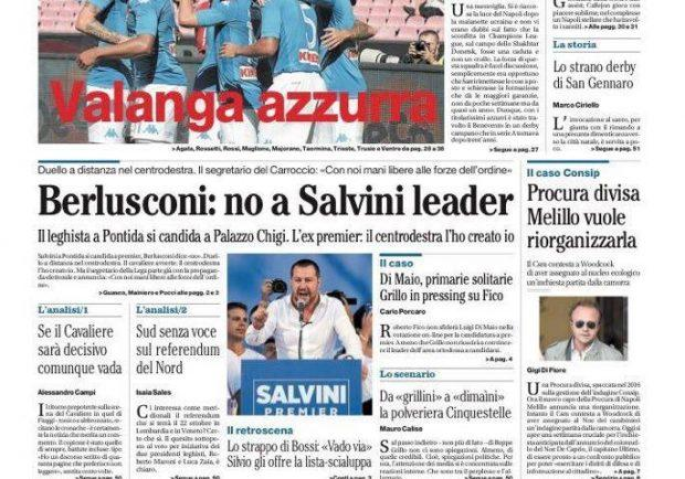 "Foto – Il Mattino titola: ""Valanga azzurra"""