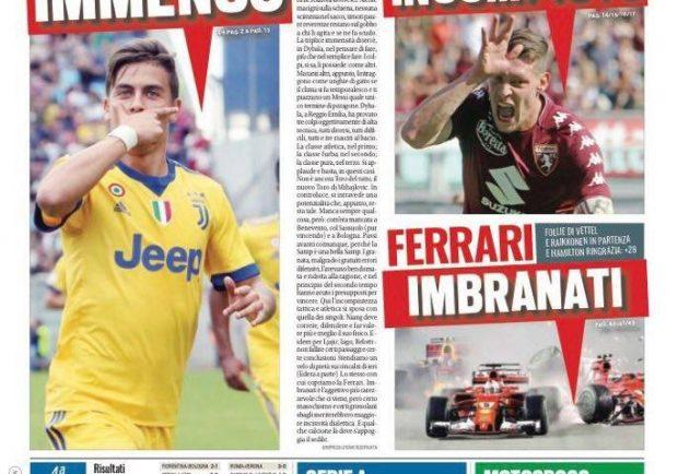 """Foto – Tuttosport in prima pagina: """"Napoli, festival da primato"""""""