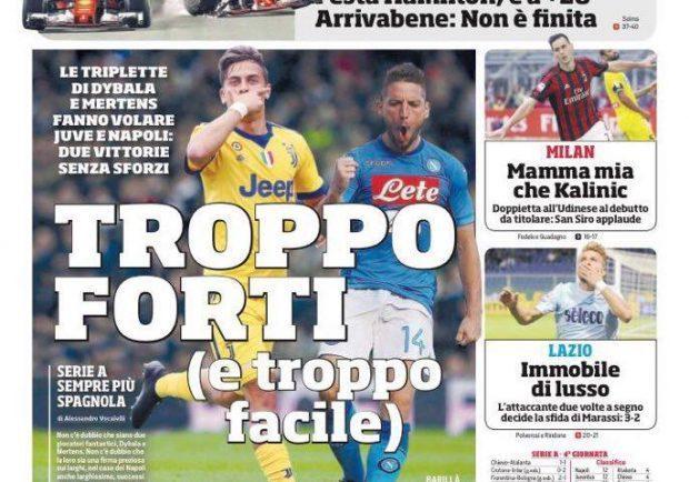 """Foto – Prima pagina del Cds: """"Dybala e Mertens fanno volare Juve e Napoli"""""""