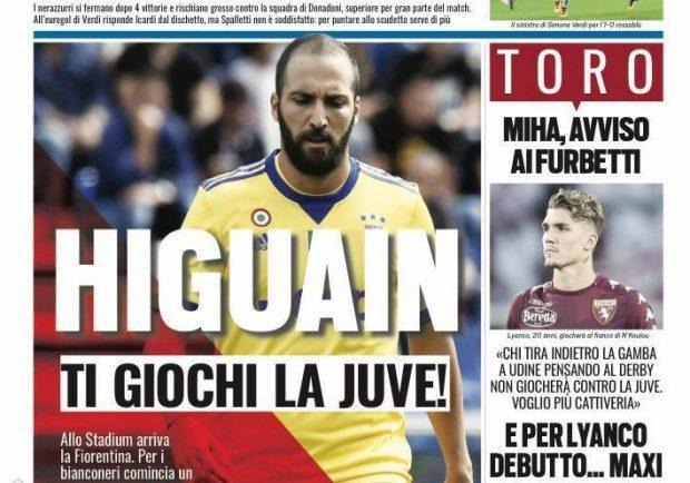 """FOTO – Tuttosport: """"Higuain, ti giochi la Juve"""""""