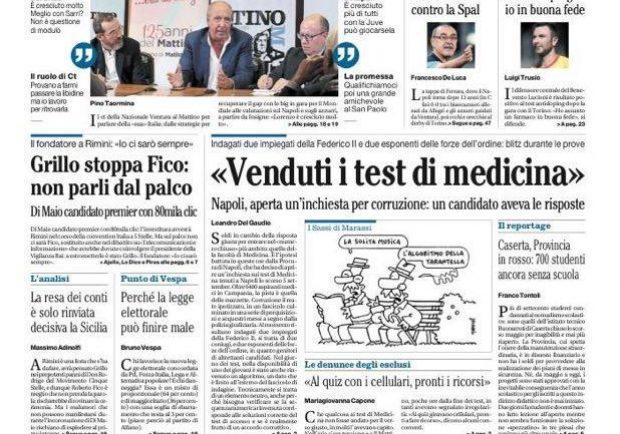"""FOTO – Il Mattino titola: """"Ventura: Italia e Insigne, con 20 giorni di lavoro cambia tutto"""""""