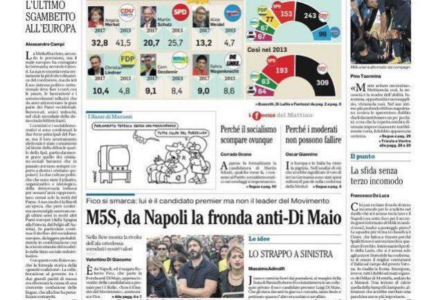 """FOTO – Il Mattino titola: """"Si rompe Milik. Il Napoli ora punta su Inglese""""."""