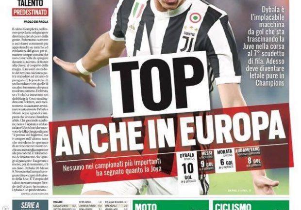 """FOTO – Tuttosport in prima pagina: """"Dybala è una macchina da goal che sta trascinando la Juve"""""""