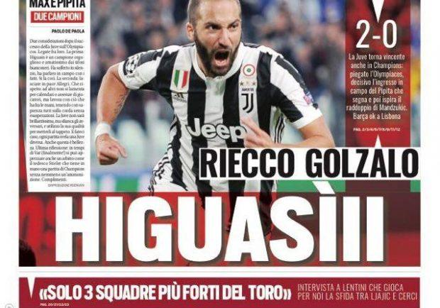 """FOTO – Tuttosport in prima pagina: """"La Juve torna vincente anche in Champions"""""""