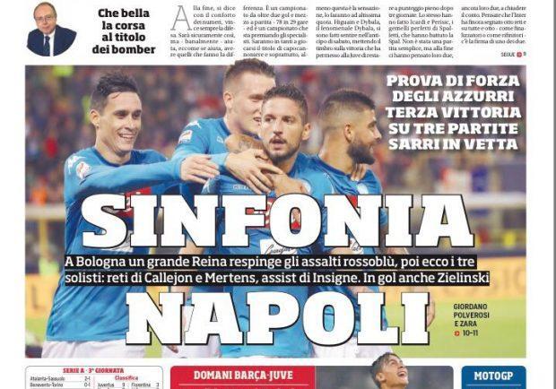 """FOTO – Il Corriere dello Sport: """"Sinfonia Napoli"""""""