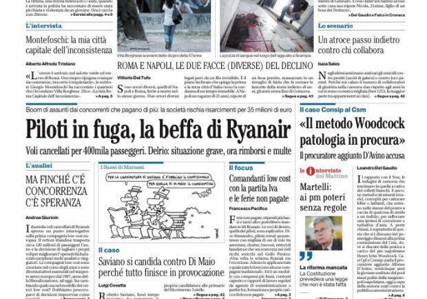 """Il Mattino: """"Serie A, una voragine tra le big e le altre squadre"""""""