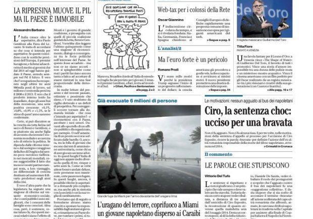 """FOTO – Il Mattino in prima pagina: """"Ciro, la sentenza choc"""""""