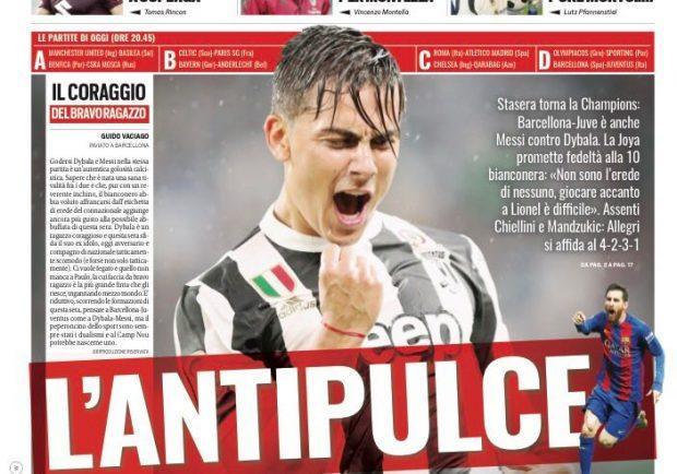 """FOTO – Tuttosport apre con Juve-Barcellona: """"L'Antipulce"""""""