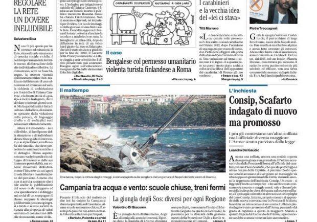 "FOTO – L'apetura de Il Mattino: ""Missione ucraina a 14°, Milik scalda i muscoli"""