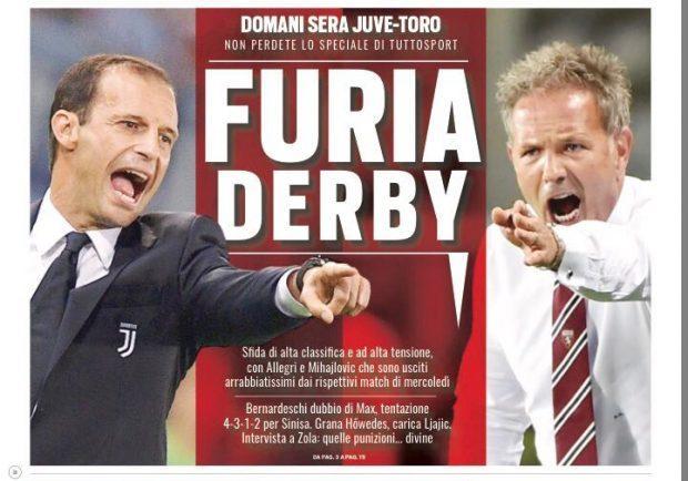 """FOTO – L'apertura di Tuttosport: """"Furia Derby"""""""