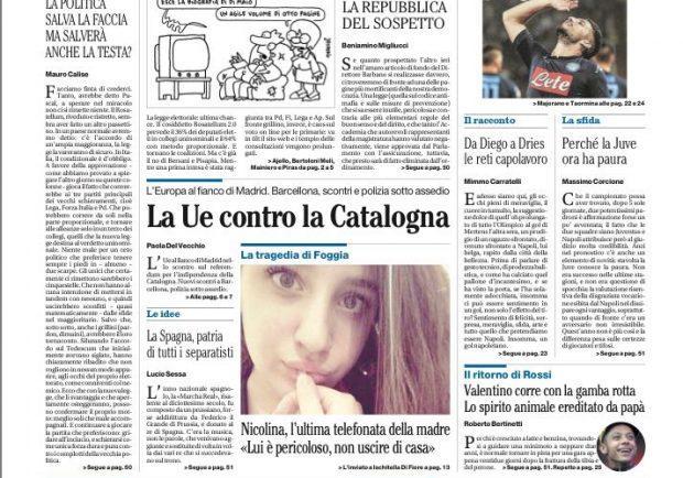"""FOTO – Il Mattino in prima pagina: """"La fabbrica del gol più ricca d'Europa"""""""