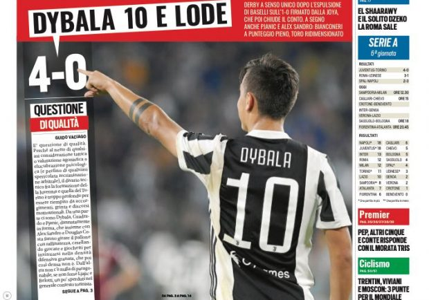 """FOTO – Tuttosport esalta i bianconeri dopo il derby: """"Solo Juve"""""""