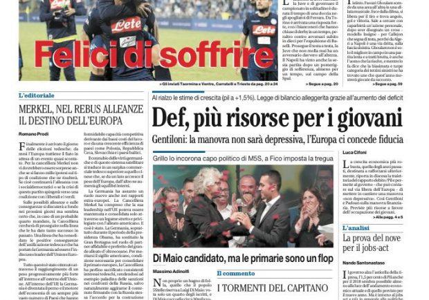 """FOTO – Il Mattino in prima pagina: """"Felici di soffrire"""""""
