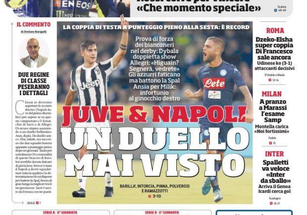 """FOTO – Il Corriere dello Sport in prima pagina: """"Un duello mai visto"""""""