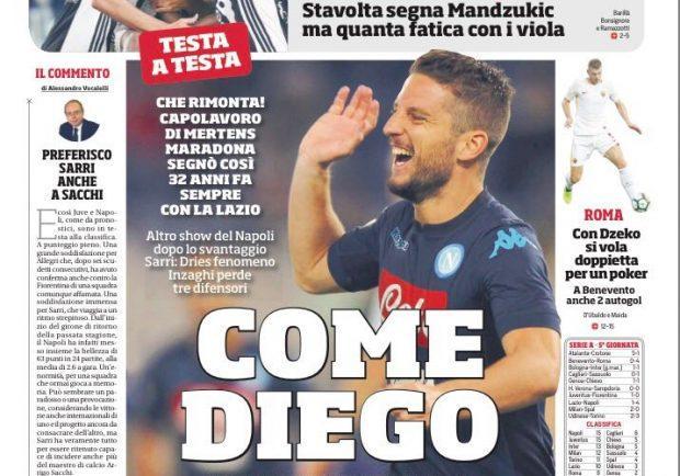 """FOTO – Il Corriere dello Sport si sbilancia: """"Mertens come Diego"""""""