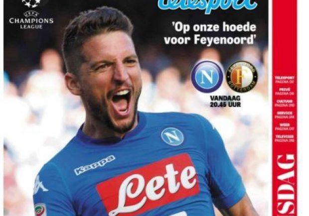 "FOTO – Il Feyenoord al San Paolo, così il ""De Telegraaf"": ""Napoli ama Mertens"""