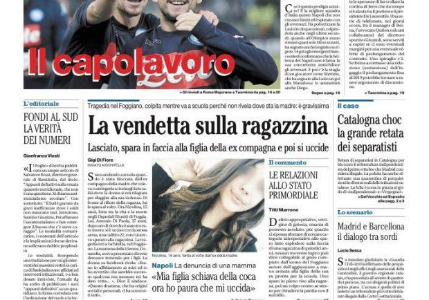 """FOTO – Il Mattino su Mertens: """"Capolavoro"""""""