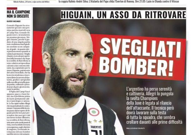"""FOTO – Tuttosport in prima pagina: """"Ahi Italia: il Napoli cade in Ucraina"""""""