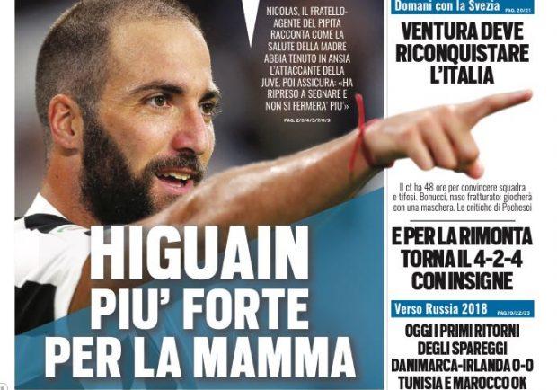 """FOTO – Tuttosport in prima pagina: """"Higuain più forte per la mamma"""""""