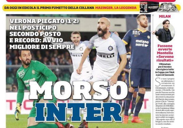 """FOTO – La prima pagina del CdS: """"Morso Inter: avvio migliore di sempre"""""""