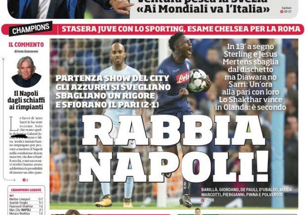 """FOTO – La prima pagina del Cds elogia gli azzurri: """"Rabbia Napoli"""""""