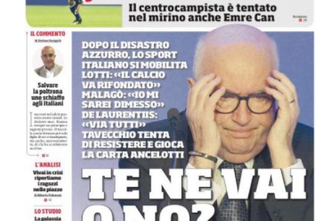 """FOTO – Prima pagina CdS: """"Dopo il disastro azzurro, lo sport italiano si mobilita"""""""
