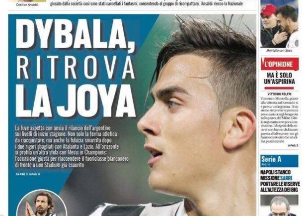 """FOTO – Tuttosport in prima pagina: """"Napoli stanco"""""""