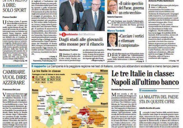 """FOTO – Il Mattino titola: """"Ancelotti il favorito per sostituire Ventura"""""""
