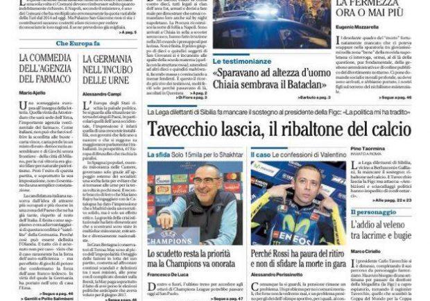 """FOTO – Il Mattino titola: """"Lo Scudetto è la priorità, ma la Champions va onorata"""""""