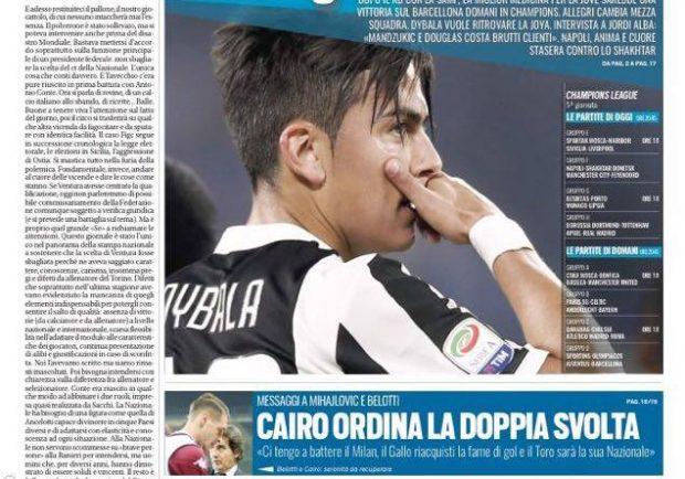"""FOTO – Prima pagina di Tuttosport: """"Allegri con il Barcellona cambia mezza squadra"""""""