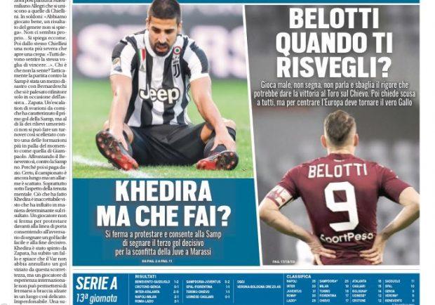 """FOTO – La prima pagina di Tuttosport sul weekend """"nero"""" delle torinesi"""