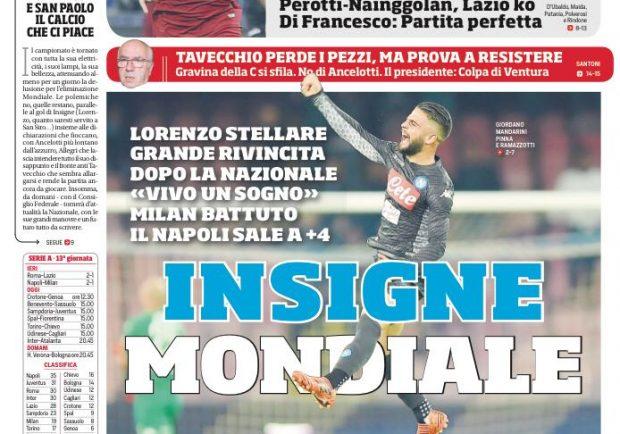 """FOTO – Il Corriere dello Sport: """"Insigne stellare"""""""
