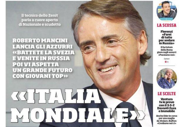 """FOTO – Il Corriere dello Sport intervista Mancini: """"La Nazionale ha un grande futuro"""""""