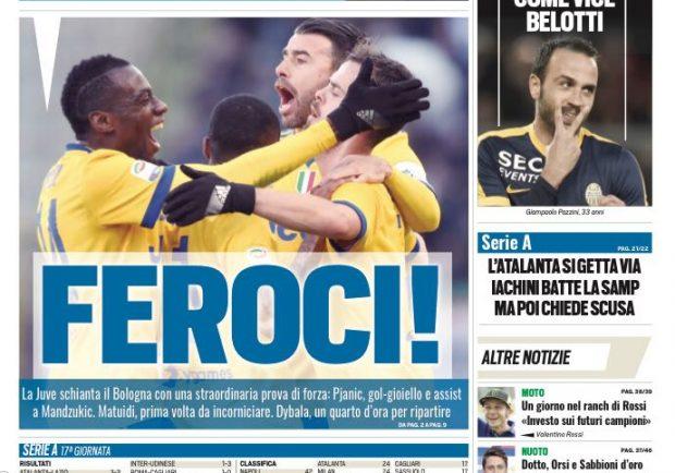 """FOTO – Tuttosport sulla Juventus: """"Feroci"""""""