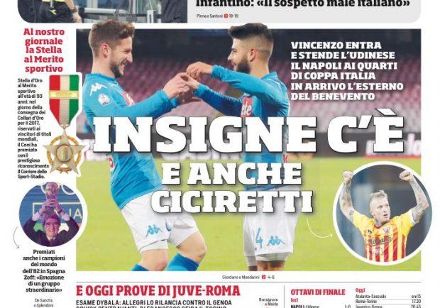 """FOTO – Il Corriere dello Sport: """"Napoli, in arrivo Ciciretti dal Benevento"""""""