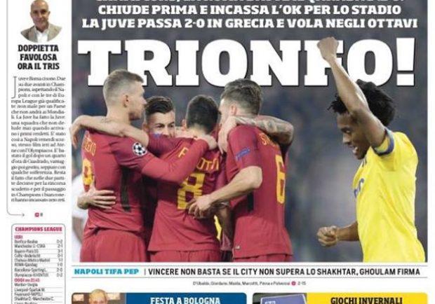 """FOTO – CdS in prima pagina: """"Napoli tifa Pep. Ghoulam firma"""""""