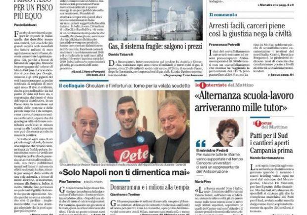 """FOTO – Il Mattino titola: """"Ghoulam: solo Napoli non ti dimentica mai"""""""