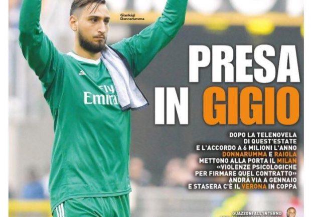 """FOTO – QS in prima pagina: """"Donnarumma e Raiola mettono alla porta il Milan"""""""