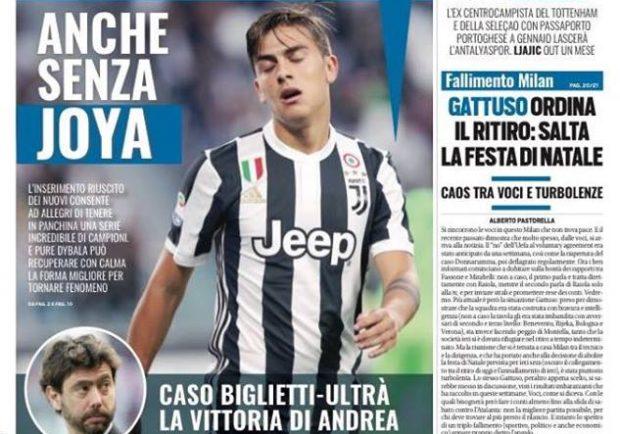 """FOTO – Tuttosport in prima pagina: """"Napoli con Mertens e Insigne per schivare l'insidia Udinese"""""""